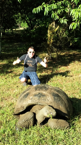 Joel at El Chato with a tortoise
