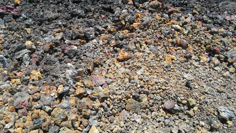 At the top of Volcan Chico, we saw minerals of all different colors.