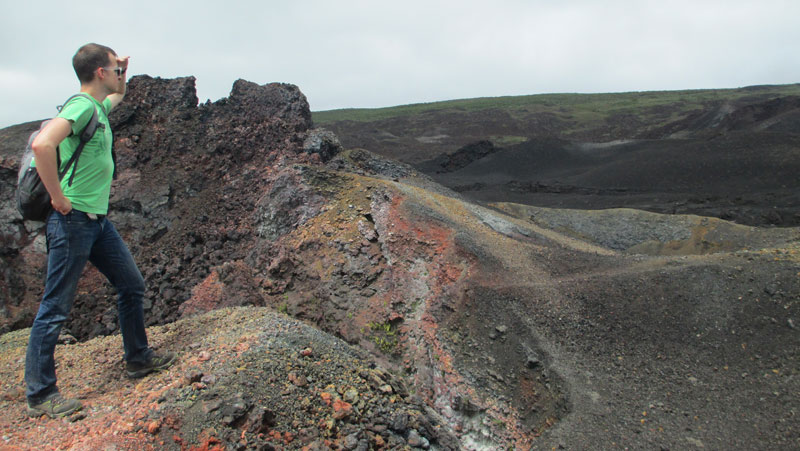 On Sierra Negra Volcano in Galapagos